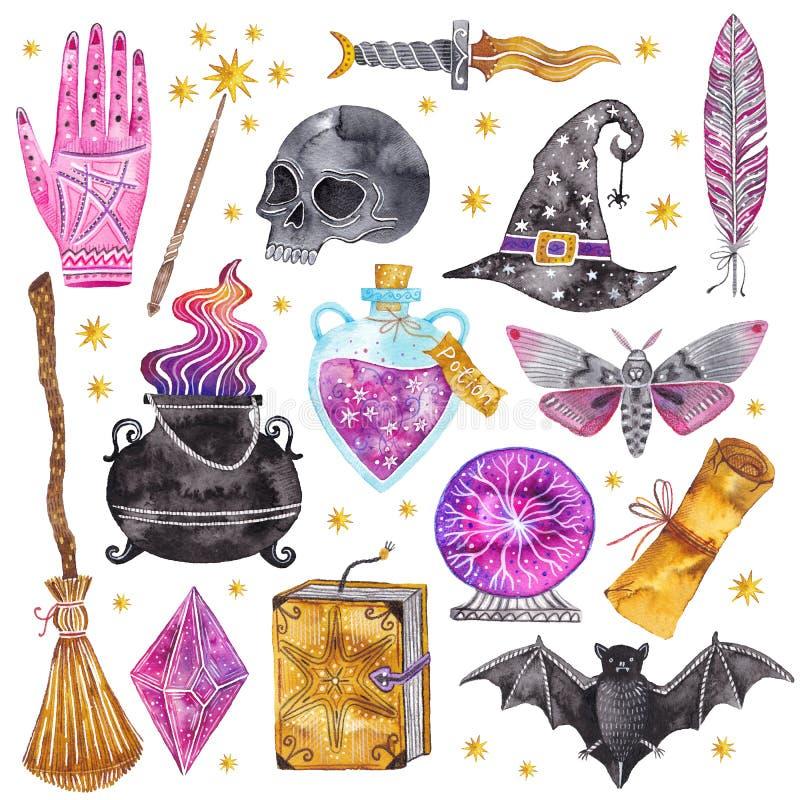 Iconos de la magia de la acuarela Dé exhausto, garabato, sistema del mago del bosquejo brujería stock de ilustración