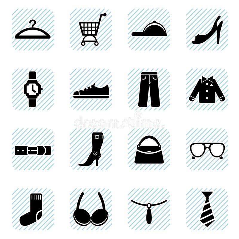 Iconos de la manera fijados stock de ilustración