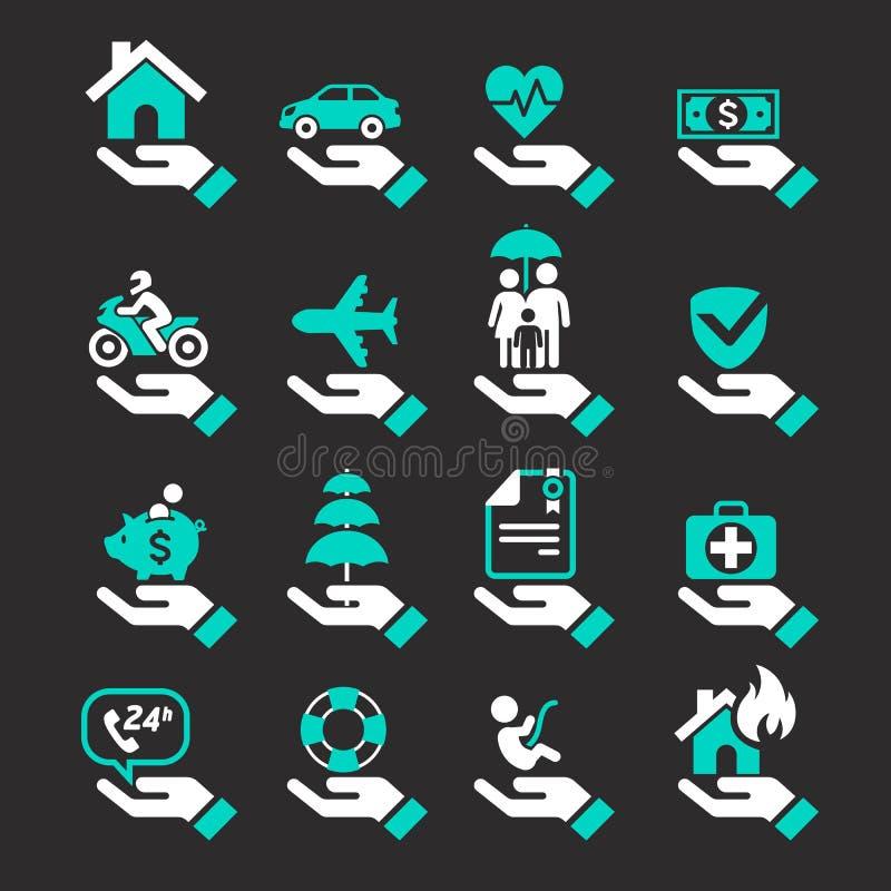 Iconos de la mano del seguro fijados stock de ilustración