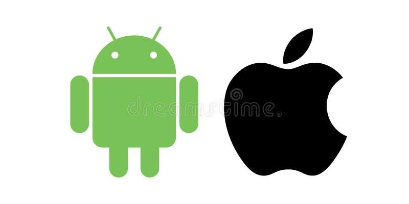 Iconos de la manzana de Android stock de ilustración