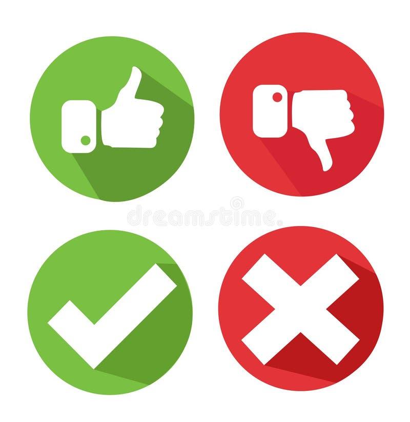 Iconos de la marca de verificación del vector ilustración del vector