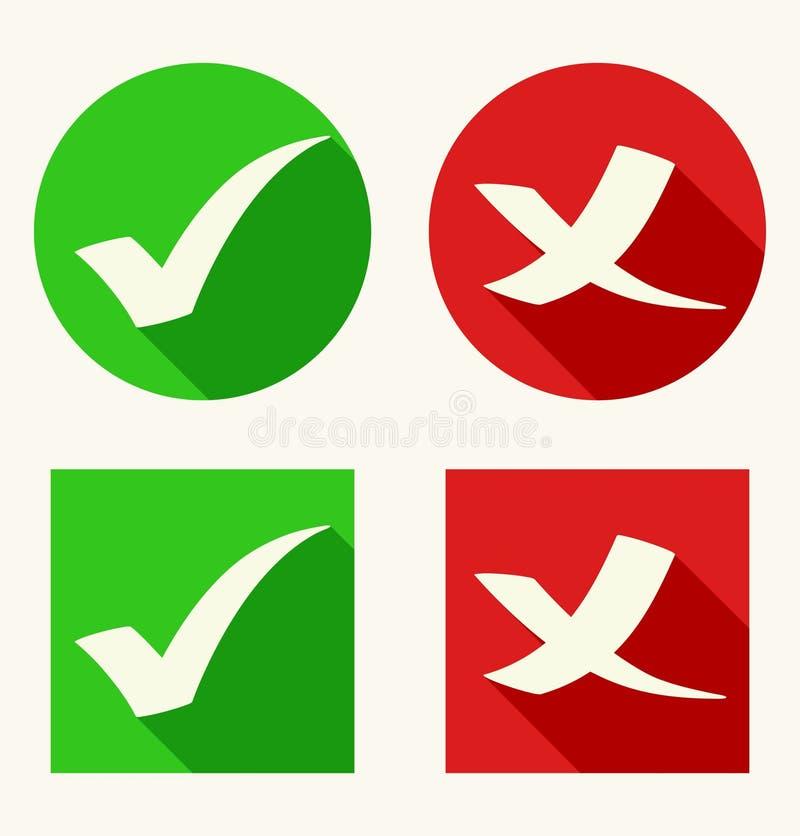 Iconos de la marca de verificación en estilo plano con las sombras largas libre illustration