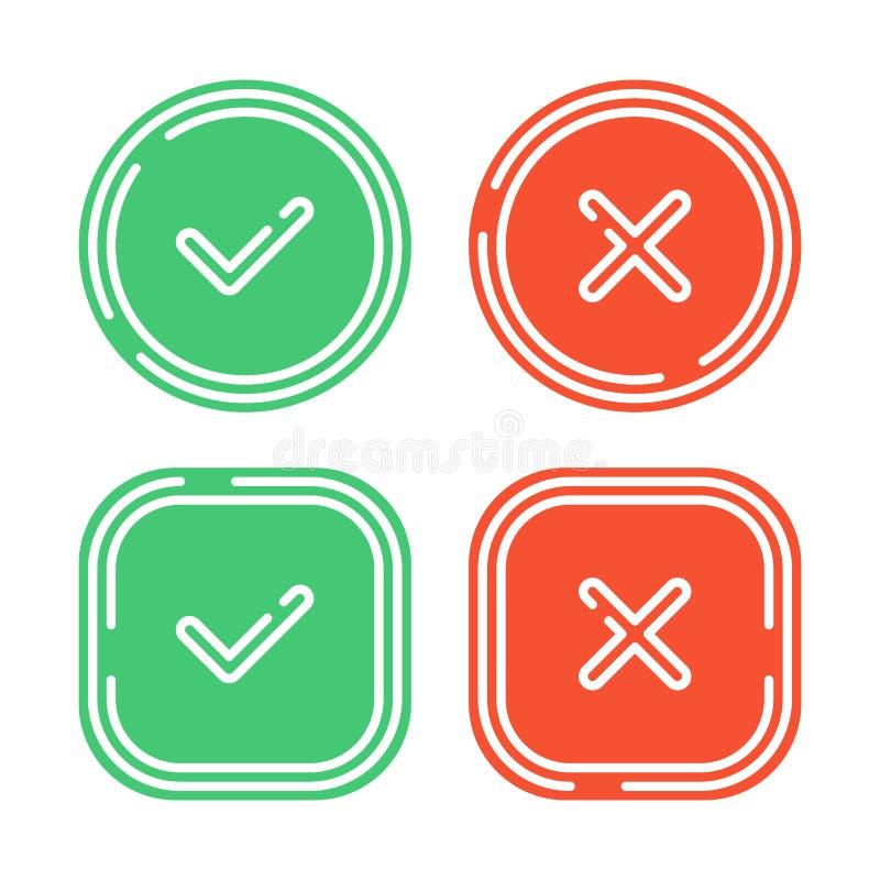 Iconos de la marca de verificación fijados libre illustration