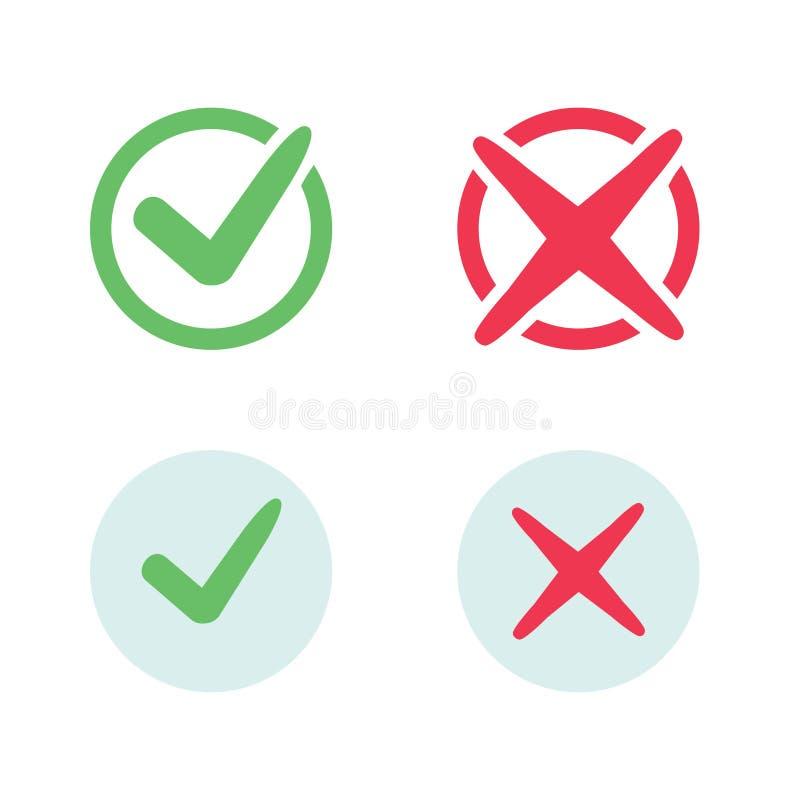 Iconos de la marca de verificación Iconos de las marcas de cotejo de la señal verde y de la Cruz Roja fijados libre illustration