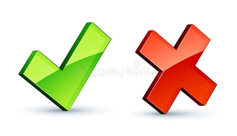 Iconos de la marca y de la cruz de verificación ilustración del vector