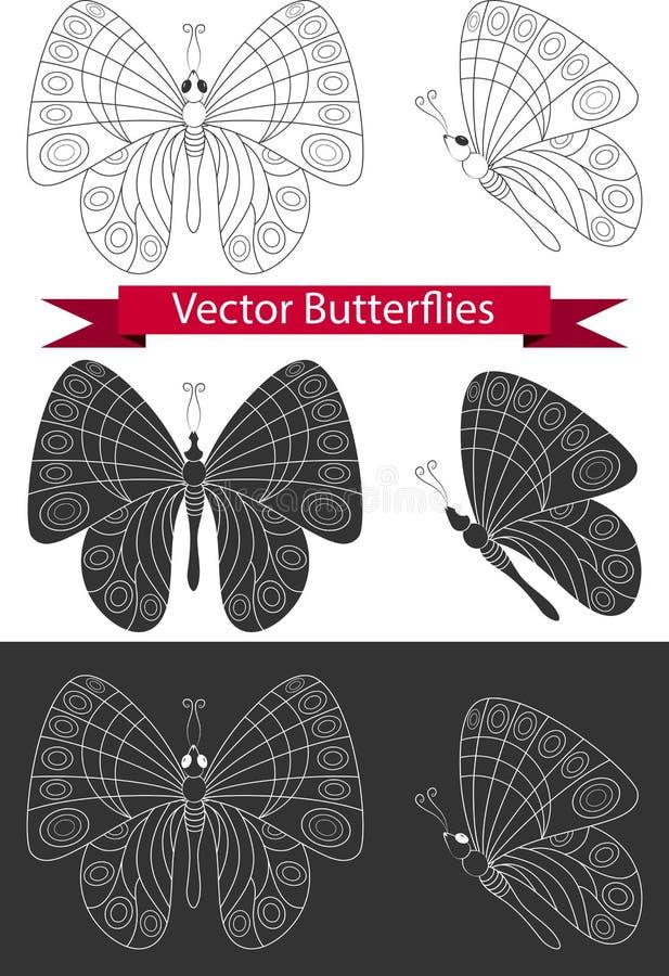 Iconos de la mariposa ilustración del vector