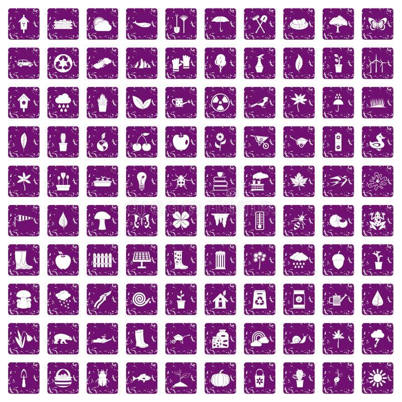 100 iconos de la materia de jardín fijaron grunge púrpura stock de ilustración