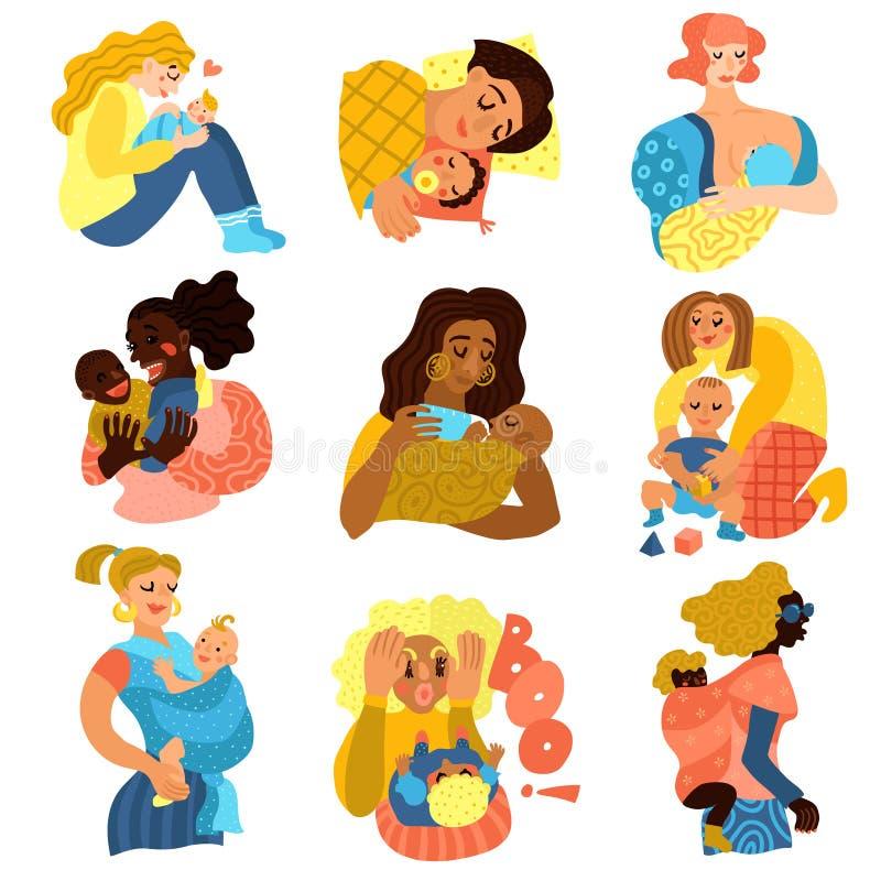 Iconos de la maternidad fijados ilustración del vector