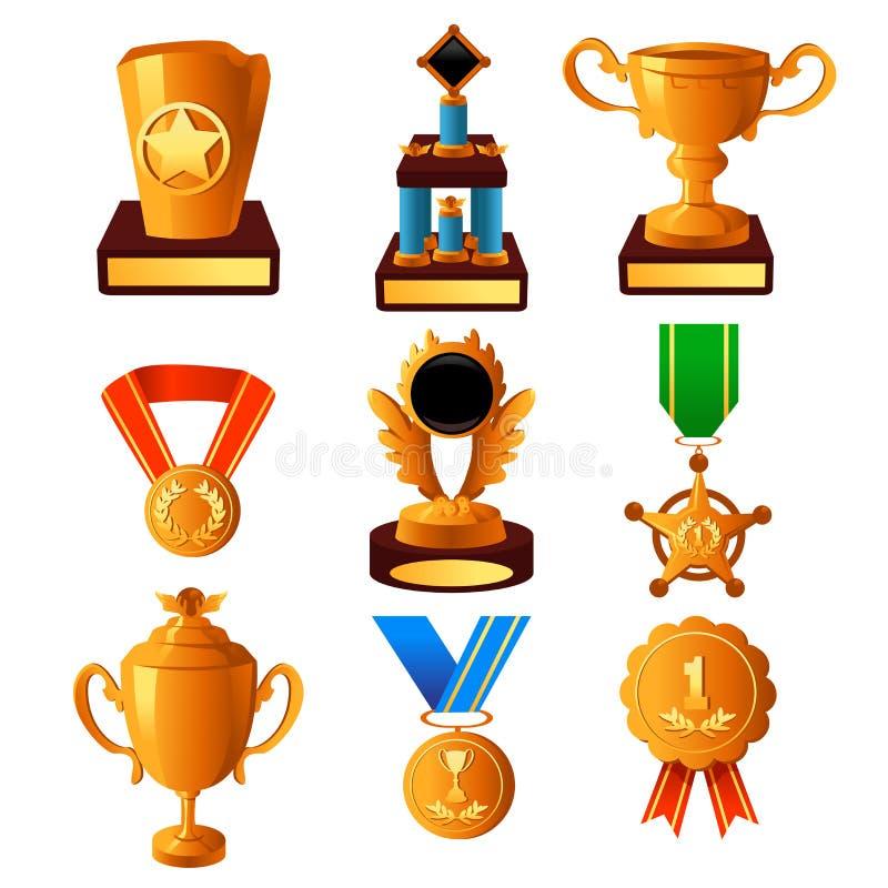 Iconos De La Medalla Y Del Trofeo De Oro Foto de archivo