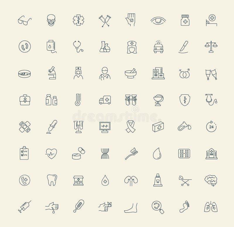 Iconos de la medicina ilustración del vector