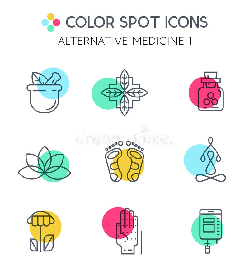 Iconos de la medicina alternativa de Colorblock ilustración del vector