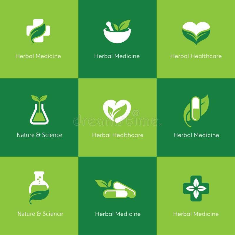 Iconos de la medicina herbaria en fondo verde libre illustration