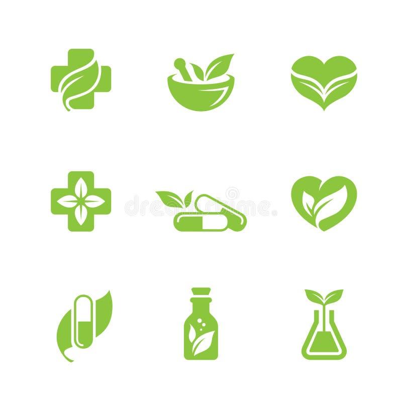Iconos de la medicina herbaria fijados ilustración del vector