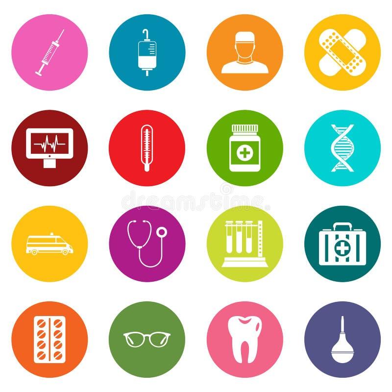 Iconos de la medicina sistema de muchos colores libre illustration