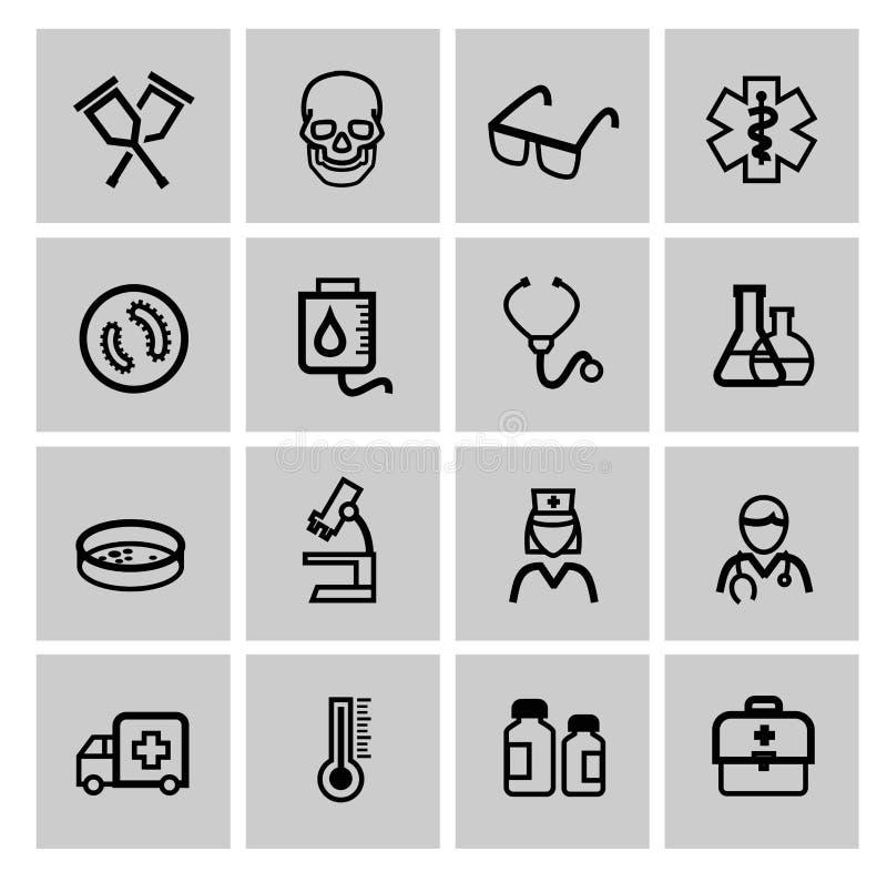 Iconos de la medicina y de Heath Care stock de ilustración