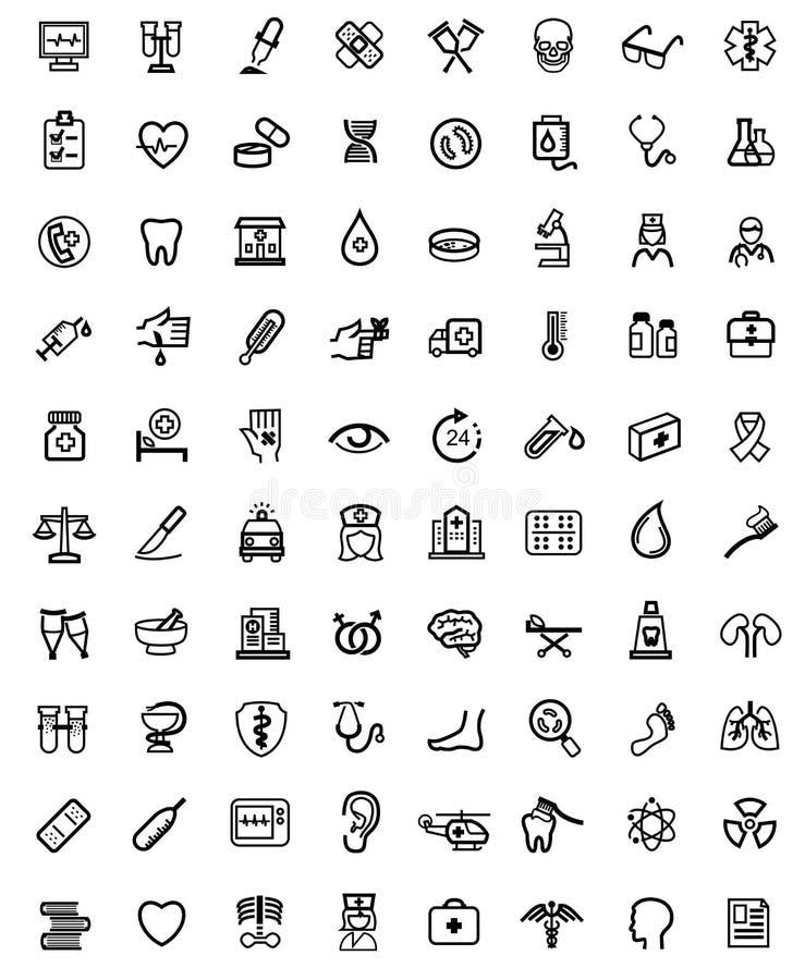 Iconos de la medicina y de Heath Care ilustración del vector
