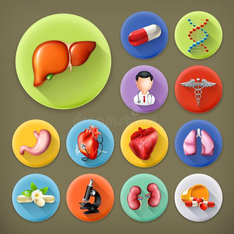 Iconos de la medicina y de la salud libre illustration