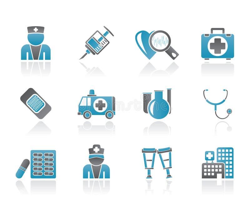 Iconos de la medicina y del cuidado médico stock de ilustración