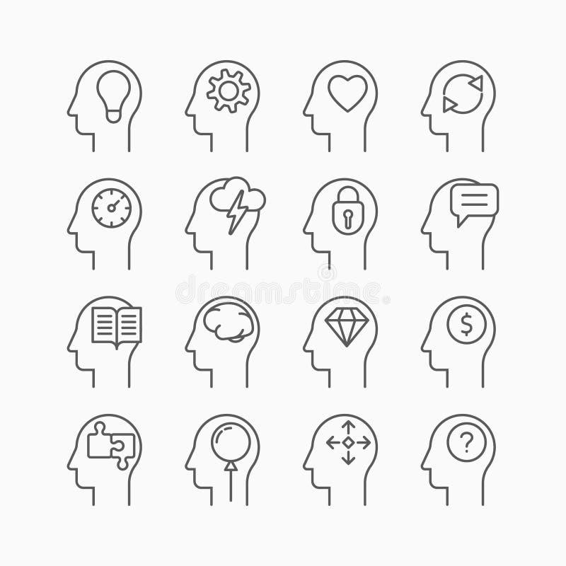 Iconos de la mente humana, línea estilo fina, diseño plano ilustración del vector