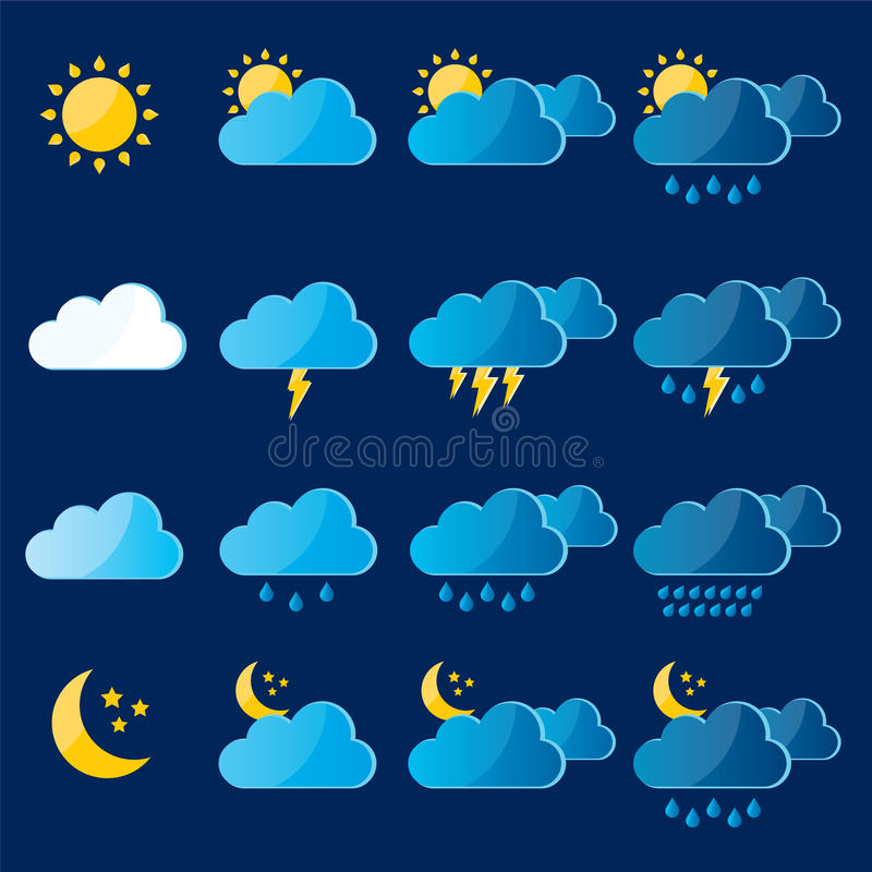 Iconos de la meteorología, del tiempo y del clima ilustración del vector