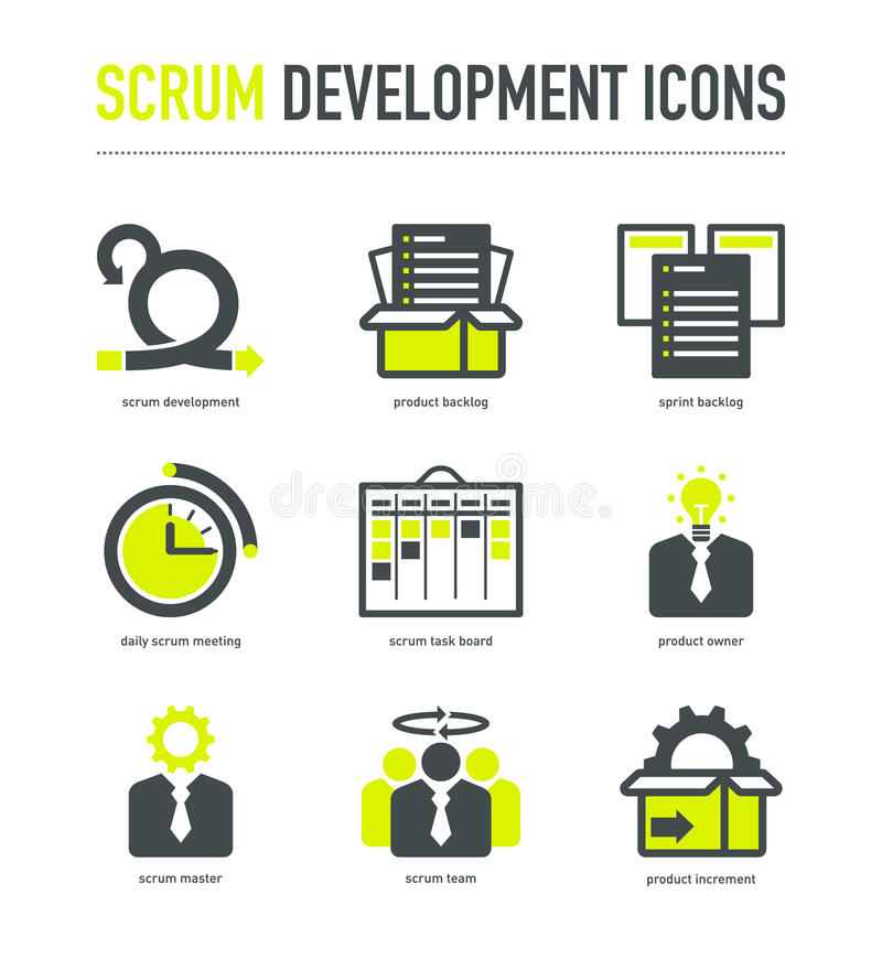 Iconos de la metodología del desarrollo del melé libre illustration