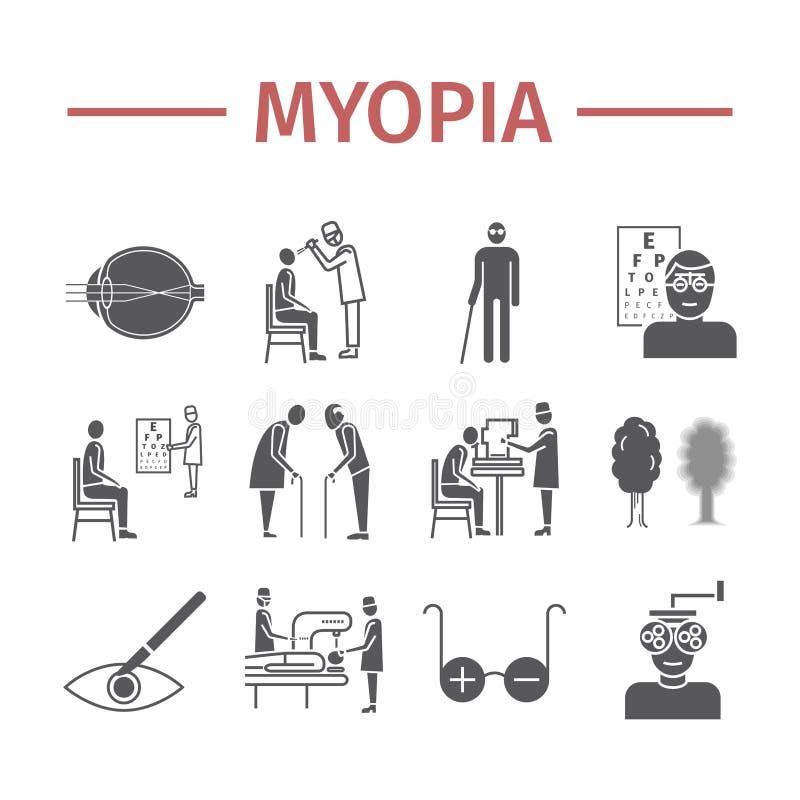 Iconos de la miopía fijados Vector el ejemplo para los sitios web, revistas, folletos Muestras de la medicina libre illustration