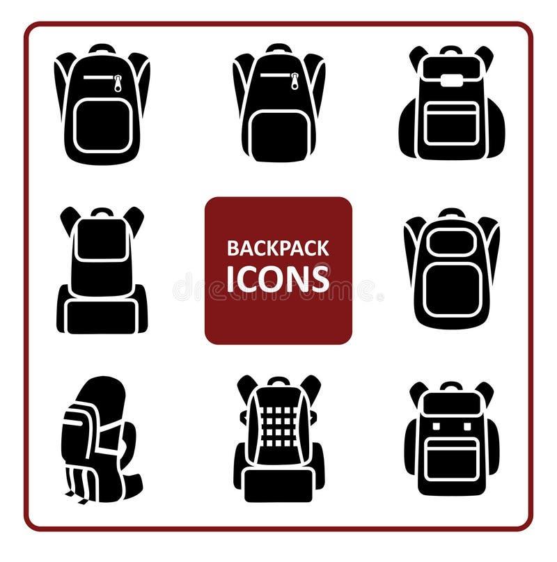 Iconos de la mochila fijados stock de ilustración