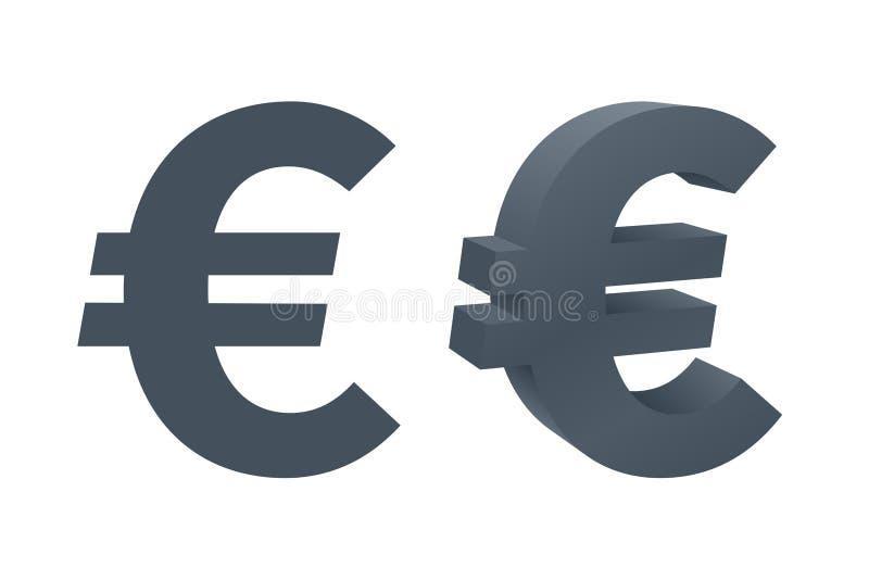 Iconos de la moneda con símbolo euro stock de ilustración
