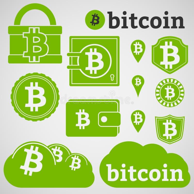 Iconos de la moneda de Bitcoin fijados ilustración del vector