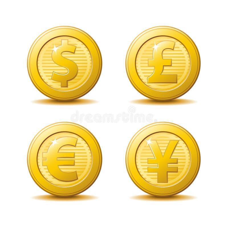 Iconos de la moneda de oro stock de ilustración