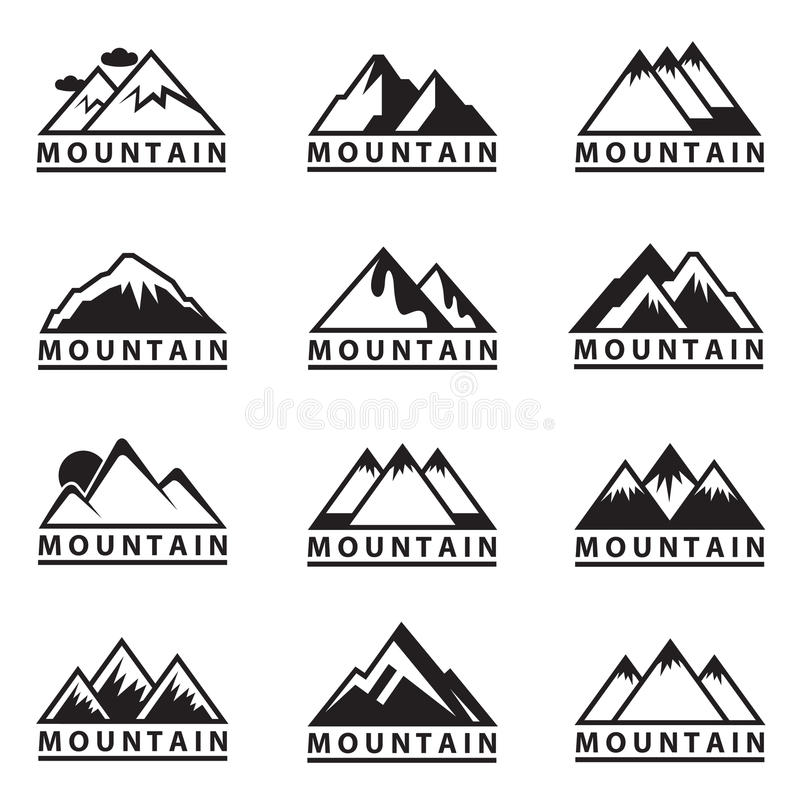 Iconos de la montaña fijados stock de ilustración
