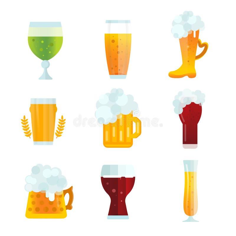 Iconos de la muestra de la botella de cerveza fijados stock de ilustración