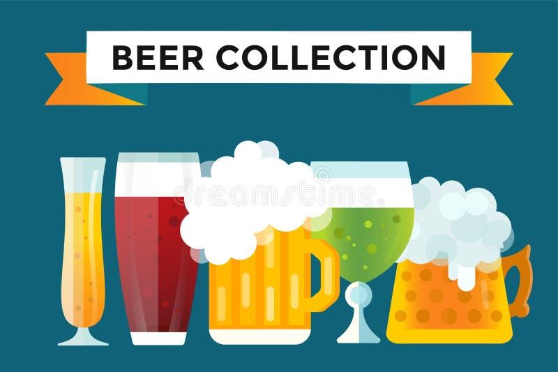 Iconos de la muestra de la botella de cerveza fijados libre illustration