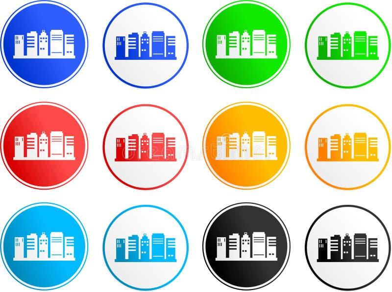 Iconos de la muestra de la ciudad stock de ilustración