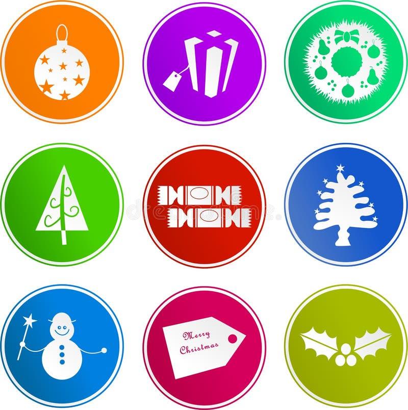 Iconos de la muestra de la Navidad ilustración del vector