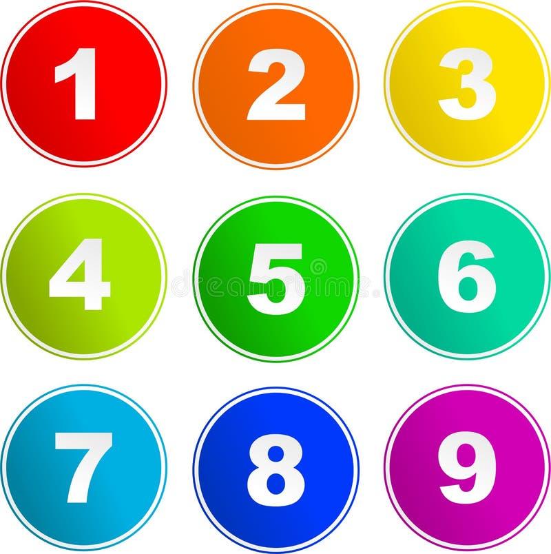 Iconos de la muestra de número ilustración del vector