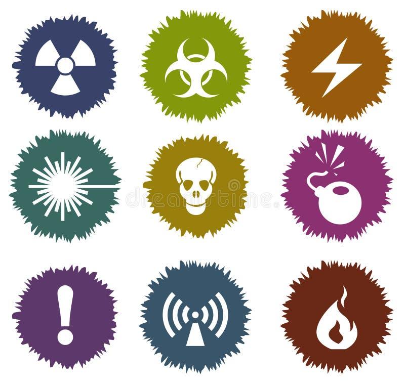 Iconos de la muestra de peligro ilustración del vector