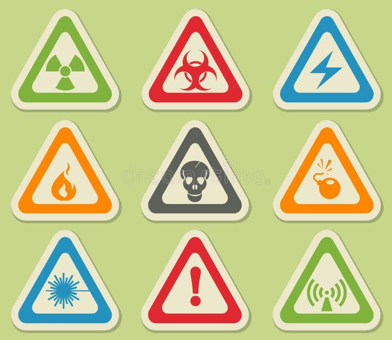 Iconos de la muestra de peligro stock de ilustración