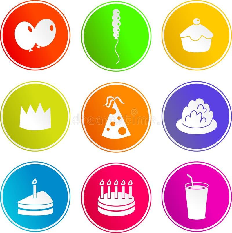 Iconos de la muestra del partido stock de ilustración
