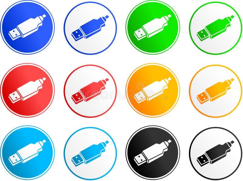 Iconos de la muestra del Usb ilustración del vector