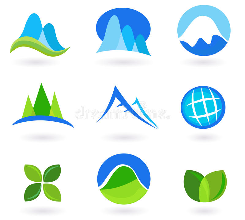 Iconos de la naturaleza, de la montaña y del turism - azul y verde libre illustration