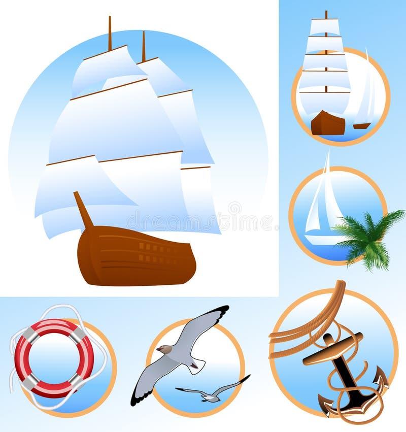 Iconos de la nave ilustración del vector