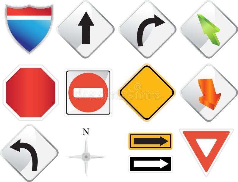 Iconos de la navegación del camino stock de ilustración