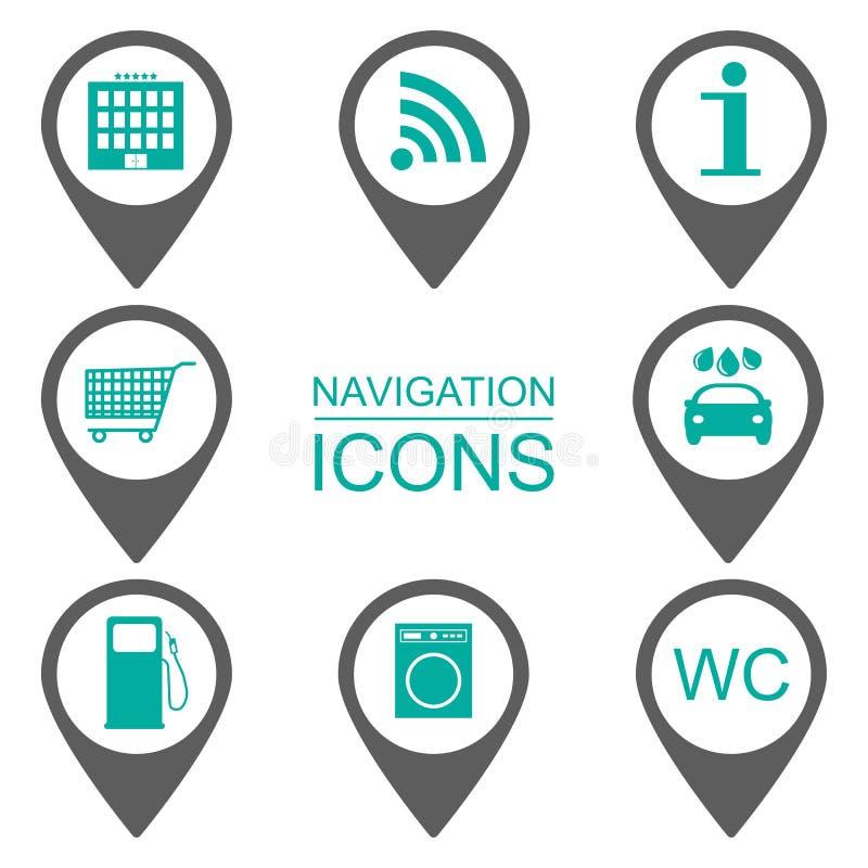Iconos de la navegación Iconos de la silueta Alcance de servicios Diseño plano ilustración del vector