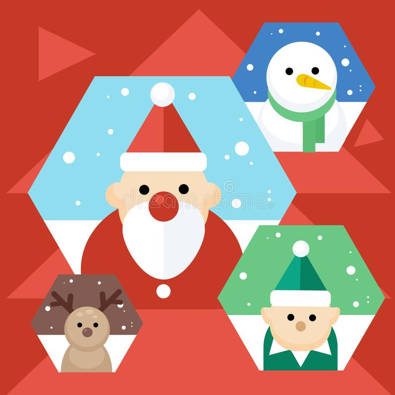 Iconos de la Navidad del vector Carácter lindo del retrato, diseño plano, tema de la Navidad ilustración del vector