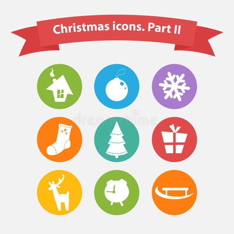 Iconos de la Navidad del vector en un estilo plano stock de ilustración
