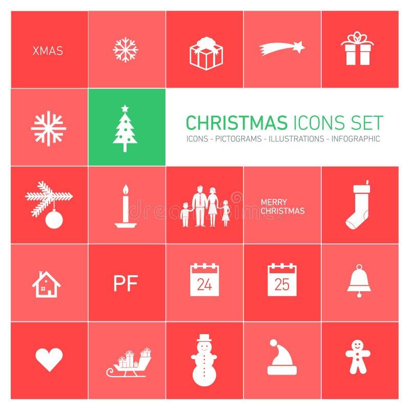 Iconos de la Navidad fijados ilustración del vector