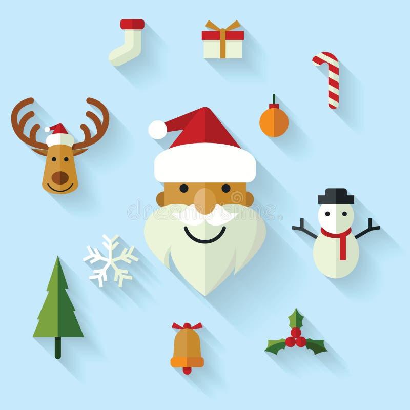 Iconos de la Navidad fijados stock de ilustración