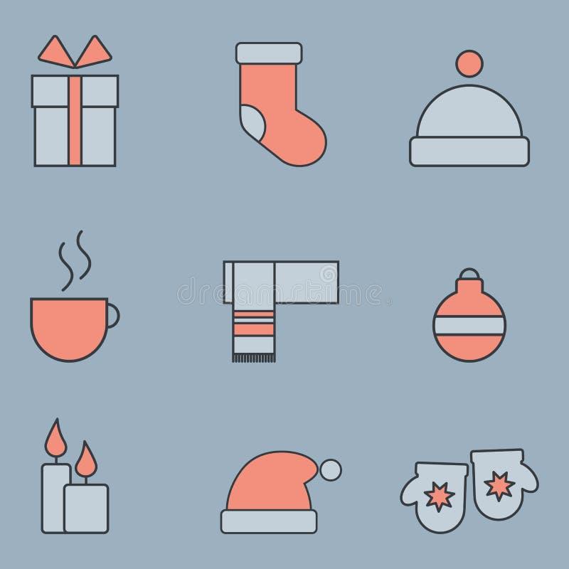 Iconos de la Navidad fijados fotos de archivo