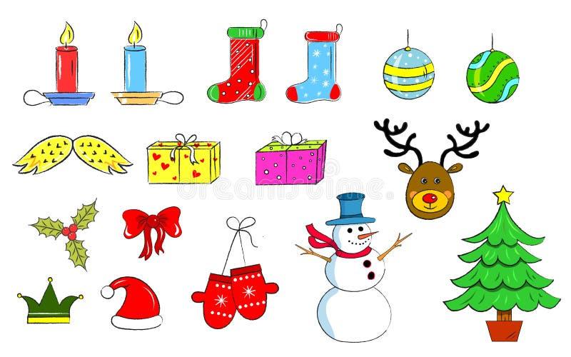Iconos de la Navidad: Mano dibujada fotos de archivo